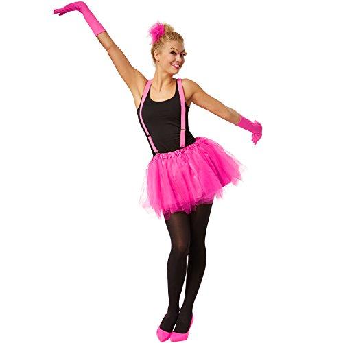 dressforfun Tutu mit Gummizug und Satinunterrock | inkl. verstellbaren Hosenträgern und Satinhandschuhe (Pink, - Für Erwachsenen Satin Narr Kostüm
