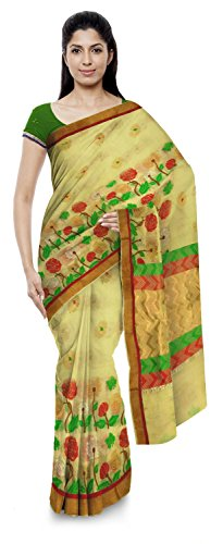 Akram Sarees Women's Kota Doria Handloom Cotton Silk Saree With Blouse Piece (Cream)