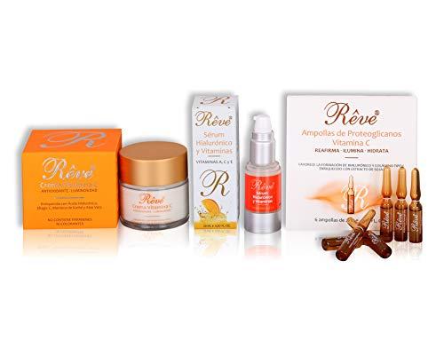REVE Pack Promozione 3 prodotti Vitamina C (Crma Vitamina C 55 ml + Siero Ialuronico con vitamine C, A e E 20 ml + Fiale proteoglicani Blister 6 fiale) Antiossidante - Luminosità per la tua pelle