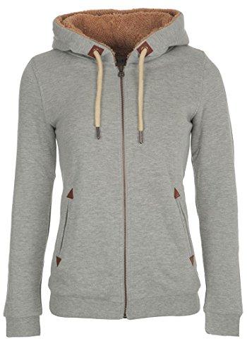 DESIRES Liki Pile-Zip - Felpa Con Zip da Donna, taglia:M;colore:Light Grey Melange (8242)