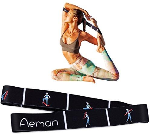 Aeman Elastico Fasce di Resistenza con 8 Loops per Bambini e Adulti - Bande Fitness per Pilates, Stretching, Fitness, Ginnastica, Danza e Allenamento (100cm Nera)