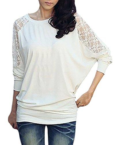 Donna Maglietta Elegante Manica Lunga Pipistrello Rotondo Collo Sciolto Vintage Blusa Splicing Pizzo Taglie Forti Tshirt Camicia Primavera Autunno Top Camicie Ragazze Bianco