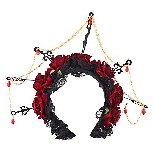 HELUHMX Rose Blume Stirnband Uhr Uhrzeiger Maskerade Kopfschmuck Halloween Schwarzer Schleier Spitze Retro Haarschmuck Punk Stirnband