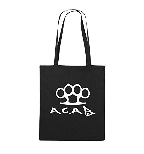 Comedy Bags - A.C.A.B. - SCHLAGRING1 - Jutebeutel - lange Henkel - 38x42cm - Farbe: Schwarz / Silber Schwarz / Weiss