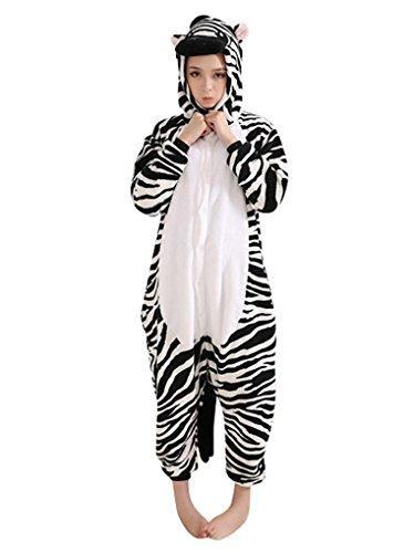 MissFox Kigurumi Pyjama Erwachsene Anime Cosplay Halloween Kostüm Kleidung Zebra (Lustiges Kostüm Zebra)