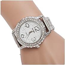Amlaiworld Orologio da polso per Donne, Cristalli strass lega orologio da polso in acciaio inox (Argento)