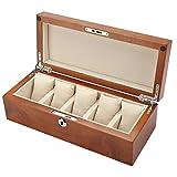 GJ-bsn Uhrenbox aus Holz, mit 5 Fächern, für Schmuckuhren, Uhrenbox B