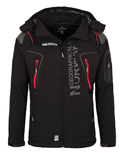 Herren-winter-jacken (3I3 Geographical Norway Tambour Herren Softshell Jacke Outdoor Schwarz XXL)