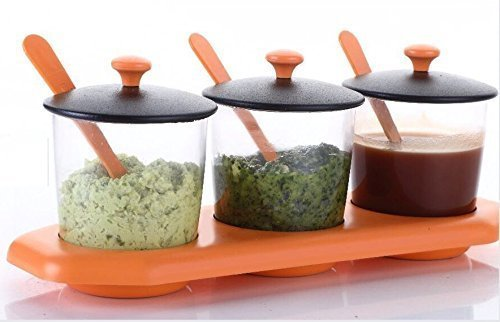 FYUGO Storage Set of 3 Jars with Lids, Spoons and Tray Holder - Chutneys/Pickles/Spices Jar - Archer Set