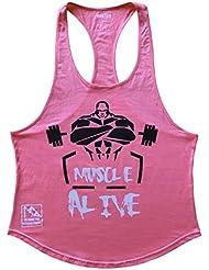 Musclealive Herren Bodybuilding Fitnessstudio Muskelshirt Trainieren Weste Baumwolle