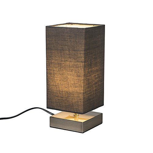 QAZQA Diseño / Industrial / Moderno / Lámpara de mesa MILO cuadrada gris Metal / Textil / Cuadrada / Rectangular / E14 Max. 1 x 25 Watt