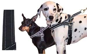 Hundegeschirr mit Neopren gefüttert schwarz reflektierend 100-110 cm