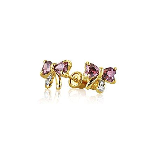Kleine Zirkonia Lavendel Simulierten Alexandrit CZ Schleife Ohrstecker Echte 14K Gelb Gold Screwback
