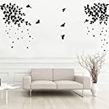 Wall Sticker, DDLBiz Adesivi Murales, Carta da Pareti'fiore nero' Decorazione Murali da Parete