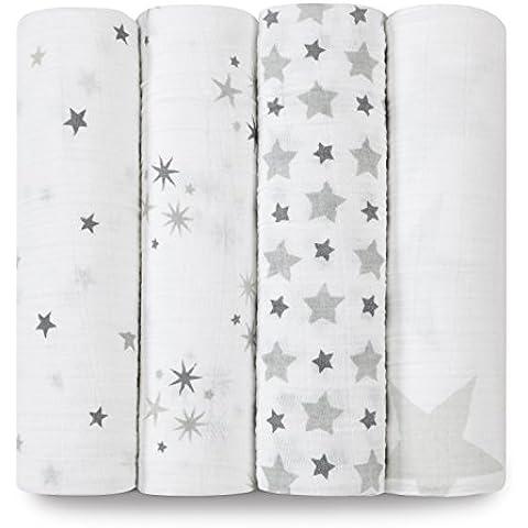 Aden + Anais - Fasce quadrate in mussola, motivo stelline, confezione da 4 - Blanket Nursery Bedding