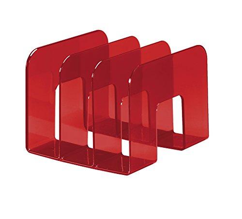 Durable - 1701395003 Porta Cataloghi Trend, 3 Comparti, per Cataloghi e Brochure, 215 x 165 x 210 mm, Rosso Traslucido