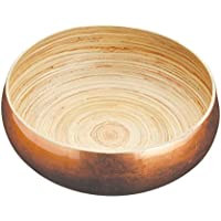 "Artesà Large Wooden Fruit Bowl / Serving Bowl, 26 cm (10"") - Copper Finish"