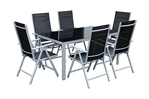 floristikvergleich.de 7teiliges Gartenmöbel-Set Gartengarnitur-Set GM7 Black