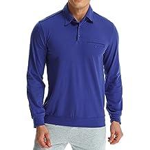 MODCHOK Hombre Camiseta Manga Larga Polo T-Shirt Top Tee Algodón Casual Clásico