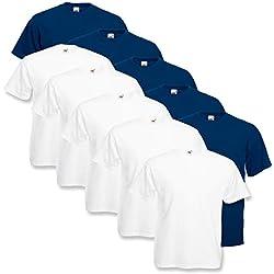 10 Fruit of the loom T Shirts Valueweight T Rundhals S M L XL XXL 3XL 4XL 5XL Übergröße Diverse Farbsets auswählbar (2XL, 5Weiß / 5 Navy)