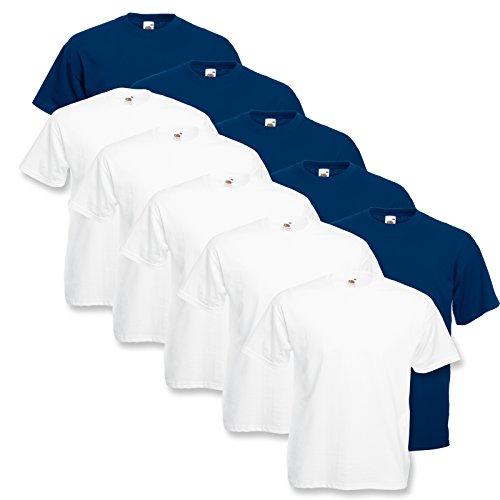 10 Fruit of the loom T Shirts Valueweight T Rundhals S M L XL XXL 3XL 4XL 5XL Übergröße Diverse Farbsets auswählbar (5XL, 5Weiß / 5 Navy)