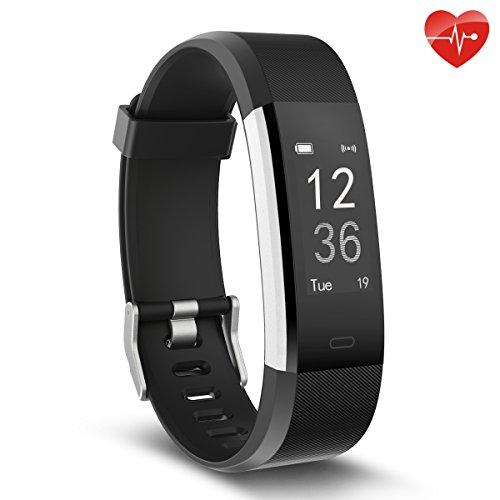 Erwachsene, Blutdruckmesser (Herzfrequenz-Monitor, moreFit Slim HR Plus wasserdicht Fitness Aktivitäts-Tracker tragbares Smart Armband, Schwarz)