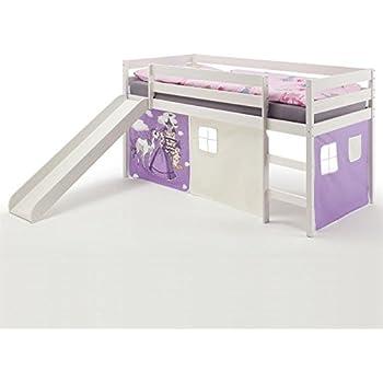 tony lit mezzanine enfant avec toboggan en pin blanc princess cuisine maison. Black Bedroom Furniture Sets. Home Design Ideas
