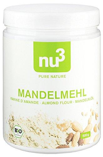 nu3 - Farine d'Amande Bio   500g   Amandes d'Espagne - 100% Vegan   Farine sans gluten pour aliments sans gluten   Riche en protéines, pauvre en graisses (glucides et lipides)   Idéale pour l'alimentation Low Carb   Issue de l'agriculture biologique contrôlée