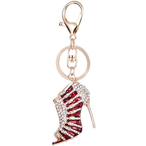 YAZILIND Schlüsselanhänger Ring Sexy High Heels eingelegten Strass Mädchen Handtasche Zubehör Anhänger Hängende Ornamente (rot) (Strass-schnalle Handtasche)
