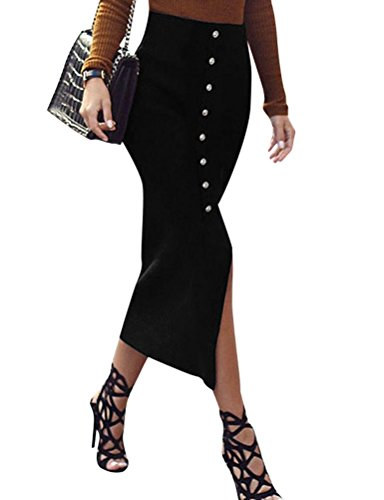 N.Life Nlife Women High Waist Solid Color Slim Fit Sexy Slit Front Single Breasted Maxi Skirt