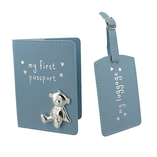 Button Corner Blau Mein Erster Pass & My Kofferanhänger Geschenkset mit metall teddy icon - Baby Geschenk