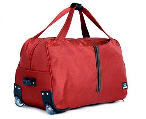 YAAGLE Schick Trolley-Tasche Rollkoffer Reisetasche Handtasche groß Fassungsmögen Kuriertasche Laptoptasche Schultertasche -rot rot