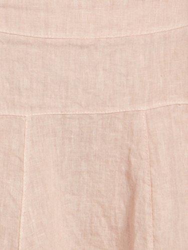 CASPAR RO013 Donna Gonna al Ginocchio di Lino rosa antico