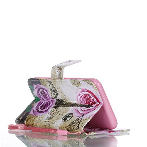 iPhone 8 Plus Lederhülle, iPhone 7 Plus Ledertasche,Vandot Abnehmbare Magnet Flip Case Ledertasche Schutzhülle für iPhone 8 Plus/iPhone 7+ Plus Detachable Leder Huelle Stand Halter Magnetverschluss Kr Rose
