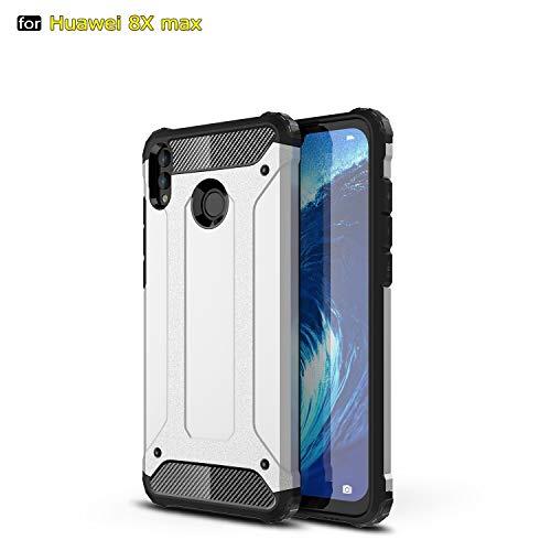 SANHENGMIAO COVER Für Huawei Handy Schwerlast gepanzerte Hartpanzer-Doppelhülle aus Hartpanzer für TPU + PCU + Schutzhülle für Huawei Honor 8X Max (Farbe : Weiß) -