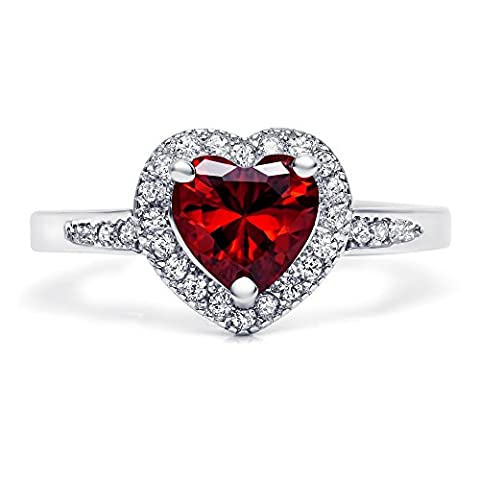 Sterling Silver Heart Shaped Simulated Red Garnet Ring with Clear Cubic Zirconia, 9mm