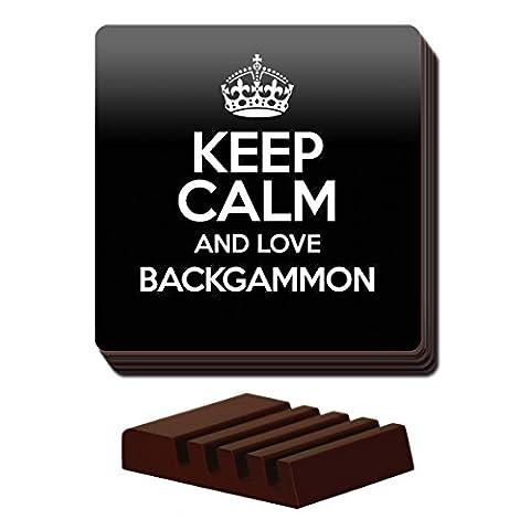 Noir LOT de 4Keep Calm and Love Backgammon Coaster Couleur 0779
