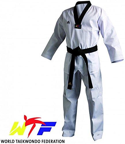 Adidas Taekwondo Champion III Dobok Anzug gleichmäßiges WTF–Schwarz Halsband, ADITCH03B, 4/170 cm