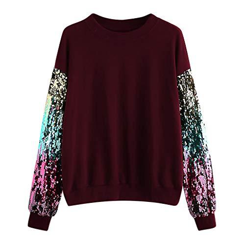 Amoyl Sweatshirt für Damen Casual Langarm Pailletten Rundhals Karneval Kostüm Festliche Show Kostüm Pullover Tops Bluse Tanz Shirt (Wein, (Tanz Show Kostüme)