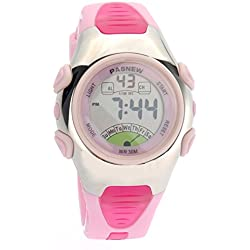Pixnor PASNEW Waterproof Children Boys Girls LED Digital Sports Watch with Date Alarm Stopwatch (Pink)