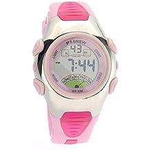 PIXNOR PASNEW PSE-219 impermeables niños chicos chicas LED Digital deportes reloj con alarma de fecha /Stopwatch (rosa)
