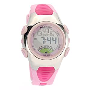 Foxnovo PASNEW PSE-219 imperméables enfants garçons filles LED Digital Sport Watch avec Date Alarm Chrono (rose)