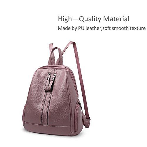 NICOLE&DORIS Fashion Schultasche Travel Umhängetasche Rucksack Daypack Geldbörse Satchel Mädchen Rucksack PU Leder Rotwein Rosa