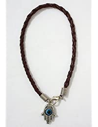 Hamsa Shamballa Friendship Bracelet Evil Eye Charm Kabbalah Hand Of Fatima Brown Silver