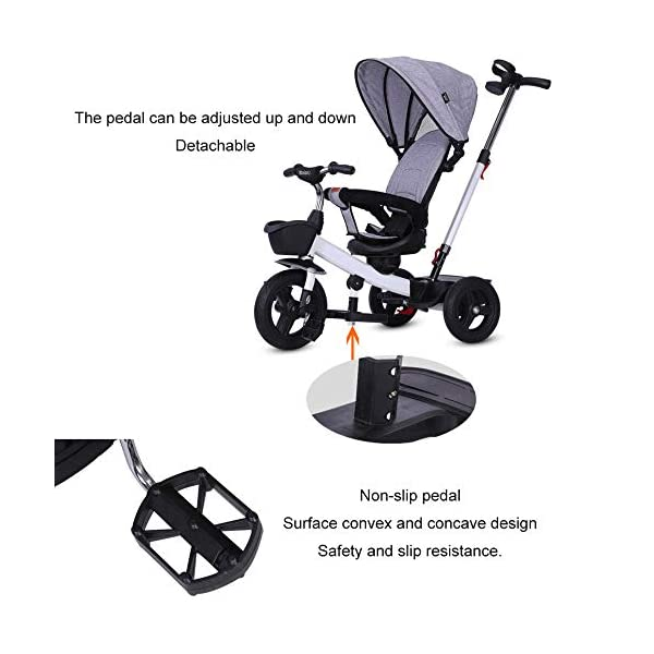 BGHKFF 4 In 1 Childrens Tricycles 1 To 5 Years 360° Swivelling Saddle 2-Point Safety Belt Children's Pedal Tricycle Folding Sun Canopy Children's Hand Push Tricycle Maximum Weight 50 Kg,Green BGHKFF ★Material: High carbon steel frame, suitable for children aged 1-5, maximum weight 50 kg ★ 4 in 1 multi-function: can be converted into a stroller and a tricycle. Remove the hand putter and awning, and the guardrail as a tricycle. ★Safety design: golden triangle structure, safe and stable; 2 point seat belt + guardrail; rear wheel double brake 7