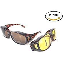 Gafas de sol superpuestas | Más gafas de sol - Más de gafas de sol - gafas de conducción y gafas de visión nocturna | Conjunto de 2 piezas | Para conducir DÍA y NOCHE | Protección anti UV400 | Cubrir regularmente los anteojos y las gafas graduadas | Wraparound Fit sobre los cristales | Color marrón - Cáscara de tortuga