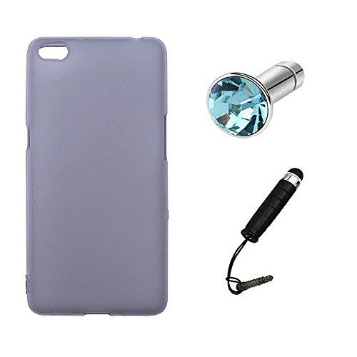 Lusee® Silikon TPU Hülle für ZTE Nubia N2 5.5 Zoll Schutzhülle Case Cover Protektiv Silicone halb transparent grau