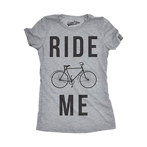 Crazy dog tshirts womens ride me funny t shirts hilarious vintage bicycle novelty cool t shirt (grey) xl - divertente donna magliette