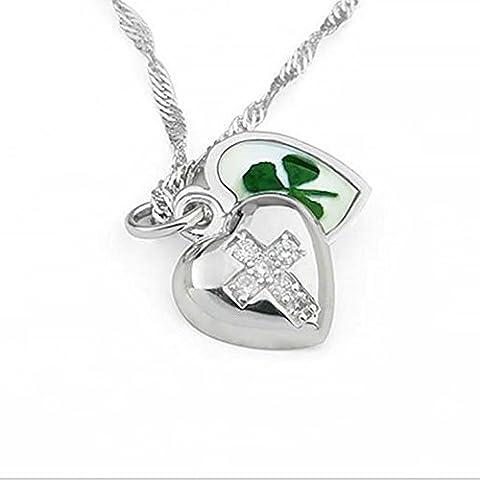 Edelstahl Real Four Leaf Clover Herz offen Medaillon Kreuz Anhänger Halskette, 40,6–45,7cm