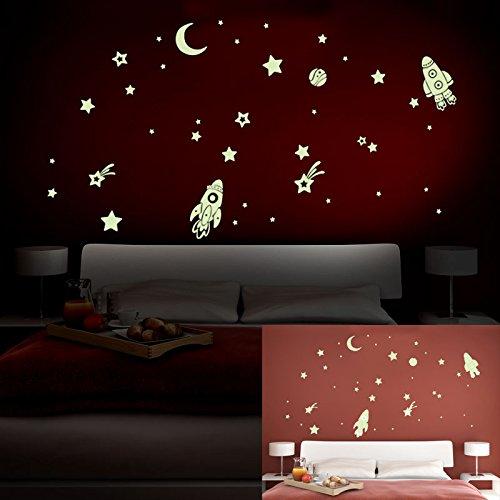 ALLDOLWEGE Cartoon leuchtende Aufkleber Raumfahrzeuge Sterne Zimmer Schlafzimmer Hintergrund fluoreszierende Wall Sticker Tapete Kinder Aufkleber dekorative Aufkleber